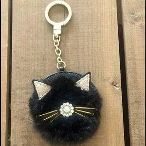 Kate Spade black, furry cat key chain/pouf.